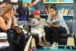 Hundreds of children enjoyed reading on the opening day of Lennox Library.