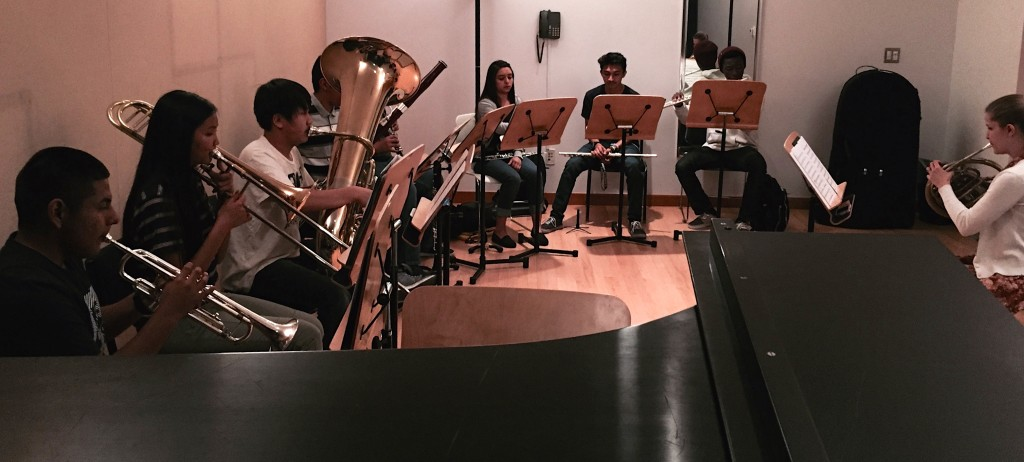 YOLA students rehearsing the music they will perform in Japan, which includes Mozart's Ave Verum Corpus. Credit: Rebecca Sigel