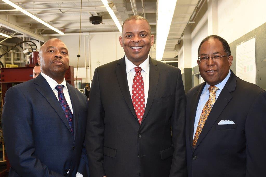 Metro CEO Phil Washington, U.S. Transportation Secretary Anthony Foxx, and Metro Board Chairman and LA County Supervisor Mark Ridley-Thomas