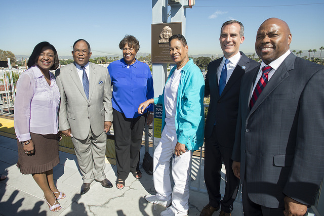 Metro boardmember Jackie Dupont-Walker, Supervisor and Metro Chairman Mark Ridley-Thomas, Lorraine and Phyllis Bradley, Mayor Eric Garcetti, and Metro CEO Phil Washington