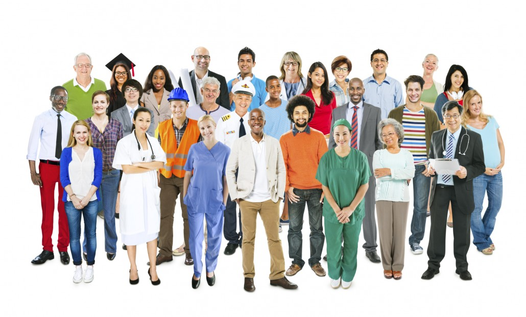Group of Multiethnic Mixed Occupations People